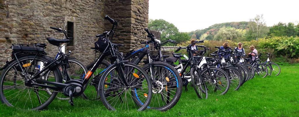E-Bikes in reihe vor einer Historischen Burg