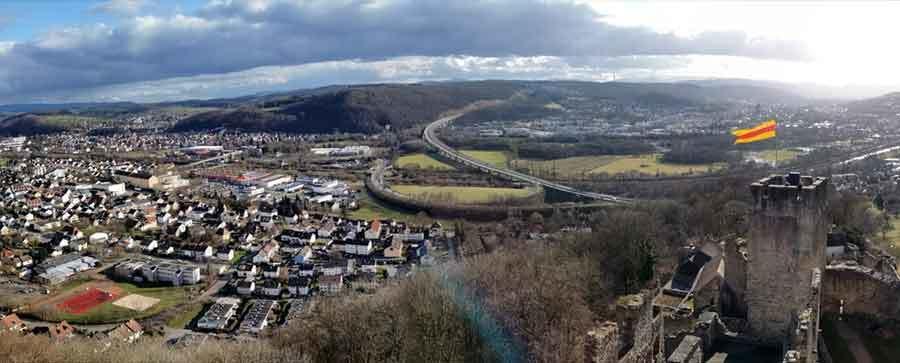 Luftbild vom Schloss in Lörrach